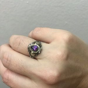 Jewelry - Purple stone silver and brass poison ring